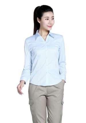 浅蓝色条纹60棉80双织长袖衬衫