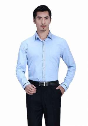蓝色领边门襟长袖黑条配色衬衫